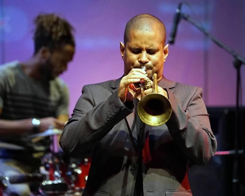 Yasek Manzano playing trumpet during the Havana Jazz Festival Tour. Photo: Rick Swig