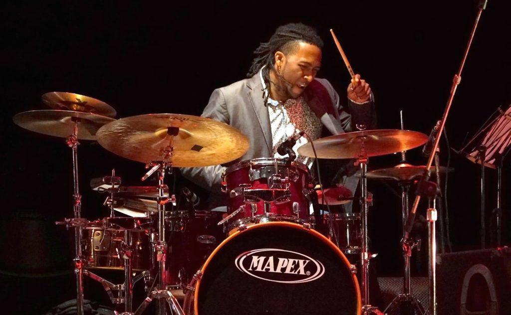 Rodney Barreto on drumset at the Havana Jazz Festival. Photo: Rick Swig