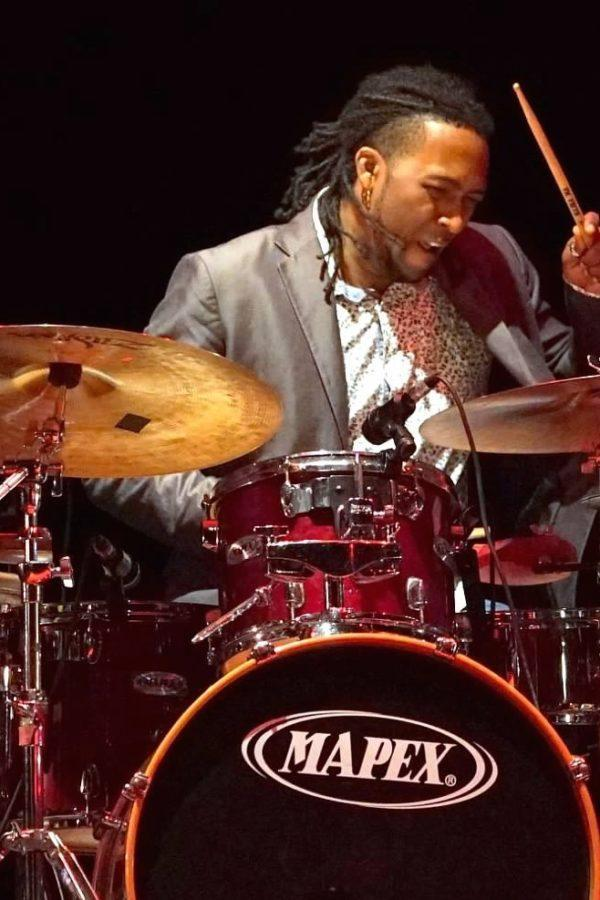 Rodney Barreto on drumset at the Havana Jazz Festival. Photo: Rick Swig