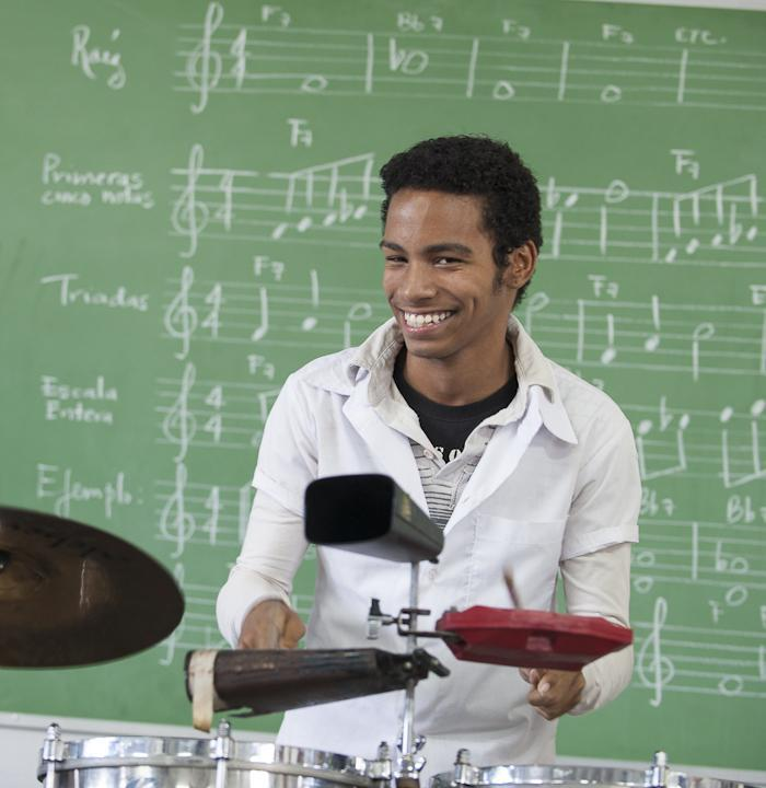 Student at Havana's National Music School on Percussion. Photo: Mary Kent