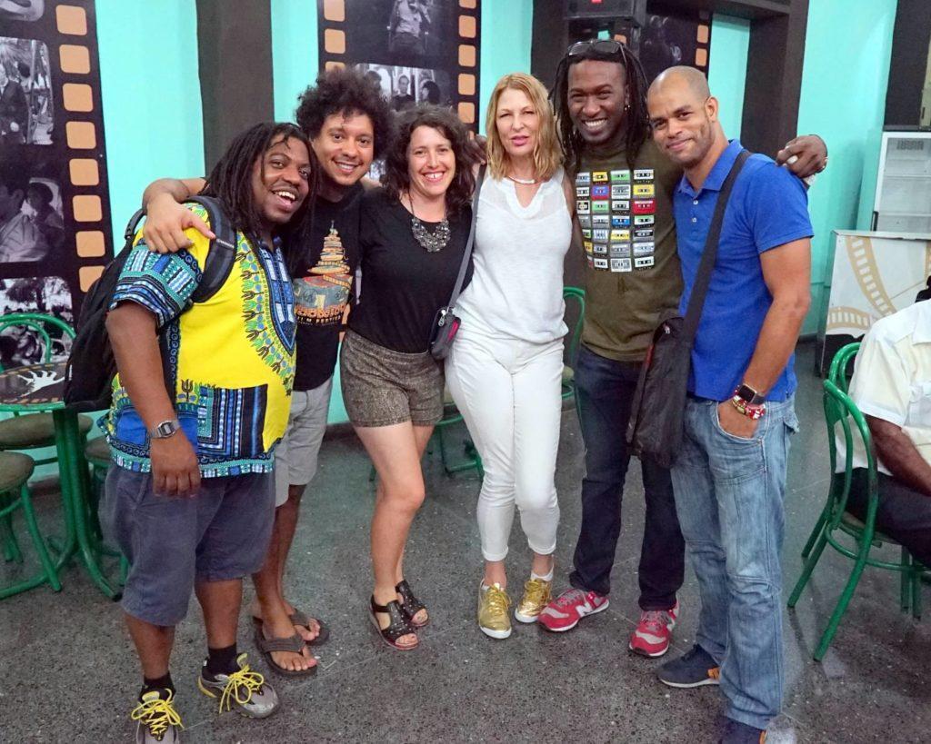 Yaroldy Abreu Robles, Aldo Lopez Gavilan, Tour Leader Vanya Goldberg, PlazaCUBA Director Alisa Froman, and Rodney Barreto