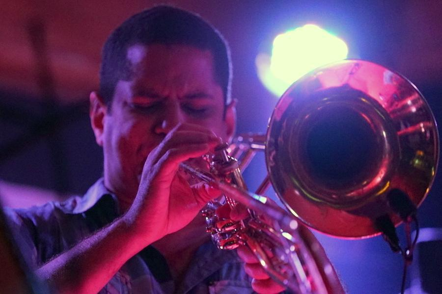 Yasek Manzano playing trumpet at the Havana Jazz Festival. Photo: Rick Swig